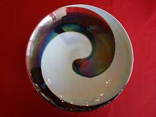 SWIRL ART GLASS ITALY BOWL RED ORANGE CHARGER PLATTER for  MID CENTURY MODERN