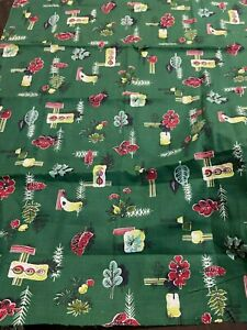 vintage barkcloth fabric green leaves mcm Eames era black red perfect condition
