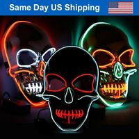 Skull Purge Mask LED EL Wire Halloween Costume Light Up Masks Cosplay Party