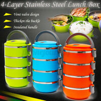 4 Layers Stainless Steel Insulated Lunch Box Bento Food Storage Container ♡