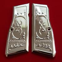 Browning Hi power Grips Engraved Gun Grips Browning Metal Nickel Plated