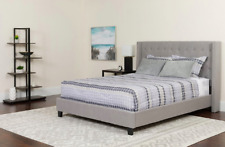 Riverdale King Size Tufted Upholstered Platform Bed Frame Light Grey Headboard