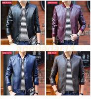 Men's PU Leather Jacket Biker Motorcycle Black Coat Slim Fit Outwear Jackets