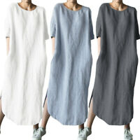 ZANZEA Womens Round Neck Cotton Beach Split Shirt Dress Ladies Long Maxi Dresses