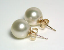 9.8mm AAA quality champagne South Sea saltwater pearl & 9 carat gold earrings