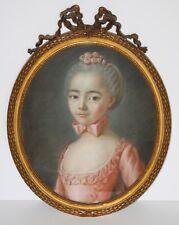 Original Antique 18th Century Pastel Portrait of Young Georgian Girl-Unsigned
