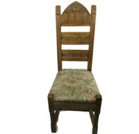 Antique Neo Gothic 1900 Chair Ornate Heavy Wood Oak Renaissance tapestry Goblin