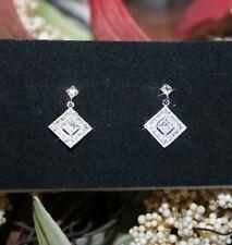 0.10ctw Natural Diamond Dangle Earrings 14k White Gold over 925 SS