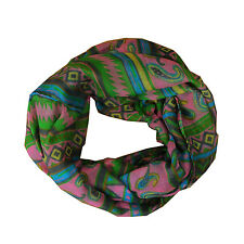 New Green/Hotpink Mixed Pattern Light Weiget X-Lgrge Infinity Scarf Loop Cowl