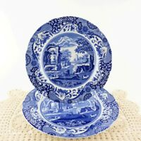 "Spode Blue Italian Scallop Edge 10 1/2"" Dinner Plate 9"" Sandwich Made in England"