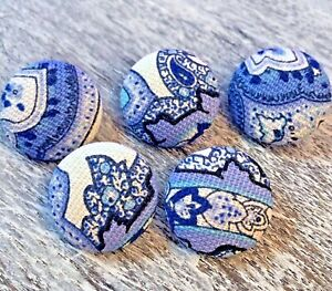 "5 Vintage Nos Cloth Fabric Covered Shank Buttons 7/8"" Blue White Toile Paisley"