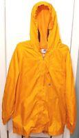 Adidas VTG Mens orange windbreaker full zip jacket large back emblem size XL