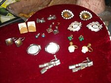 11 vintage earrings copper turquoise rhinestone crystal sarah coventry lot
