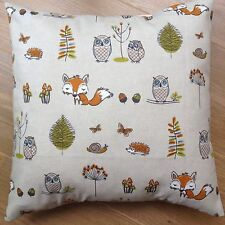 """New Fryetts Fabric Woodland Fox Owl Natural Multi Scatter Cushion Covers 16"""""""