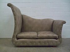 "Mint ""Unique"" Huge Scroll-Arm Sofa-Chaise in Osborne & Little ""Prarie"" Fabric"