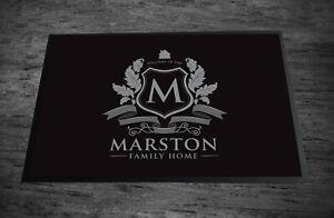 Personalised Family name Home black & Grey Royal door Home mat  60 x 40 cm
