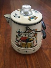 Vintage White Enamel Water Pitcher Jug w/ Lid Multi Color 11 Inches Tall