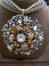 Huge Miriam Haskell Pendant on 5-Chain Necklace-Rhinestone/Seed Pearl/2-Tone