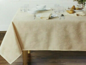 """Autumn Medley Damask Tablecloth in Ivory, 60"""" x 120"""", NEW"""