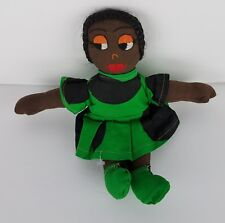 """Vintage 11"""" Handmade Black African American Afro Ethnic Doll w Handmade Outfit"""