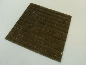 Oceanside Glass Tile 1in x 1in 12x12 Square Olive Iridescent 038 22221