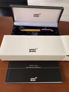 montblanc kugelschreiber Solitaire Ramses Blau Gold Mit Original Papieren.