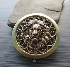Handmade Oxidized Brass Lion Compact Mirror