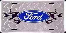 FORD LOGO DIAMOND CAR TRUCK TAG LICENSE PLATE METAL BLACK FLAME EMBOSSED SIGN
