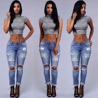 High Waist Womens Stretch Jeans Denim Skinny Ripped Pants Slim Pencil Trousers
