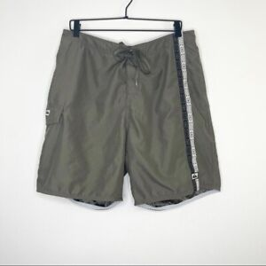 Quiksilver Green Mens Lined Embroidered Swim Trunks Size XL