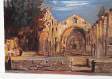 Vintage impressionist gouache painting landscape signed