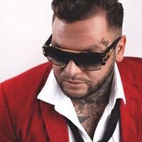 Vintage Retro Hip Hop Square Sunglasses Metal Bar Men's Designer Rapper Shade US