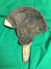 Vintage Leather Genuine Flyer Aviator Cap with Visor