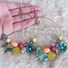 NEW Womens Big Ring Butterfly Flower Stars Multi Bead Charm Dangle Hook Earrings