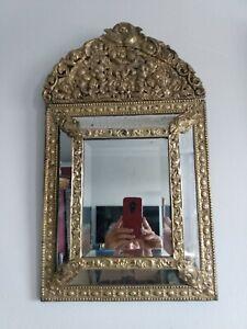 "Georgous Antique 19thC French Repousse ""Bronze Dore"" Mirror - 23""H x 13.5""W"
