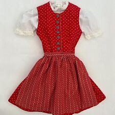 Girls German Folk Apron Dress Traditional Three Pieces Drindl Oktoberfest 3T 4T