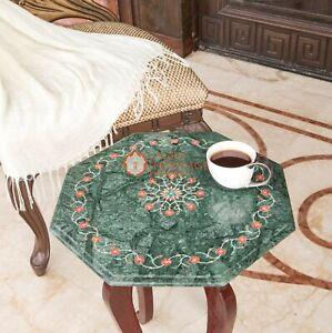 "16"" Marble Green Top Accent top table Carnelian Pietradura Floral Art Home Decor"
