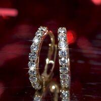 18k yellow gold 925 silver simulated diamond stud huggies classic earrings small