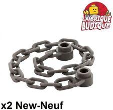 Lego - 2x Chaine Chain 21 Links gris foncé/dark bluish gray 30104 NEUF
