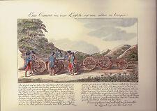 1035-GRAVURES AQUARELLÉES-ARTILLERIE-SUISSE-ZURICH-CANONS ET MORTIERS-1798