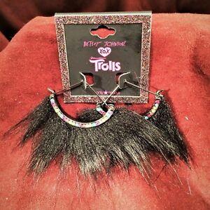 Betsey Johnson XOX Trolls Black Faux Fur 1/2 Round Semi-Circle Fan Hoop Earrings