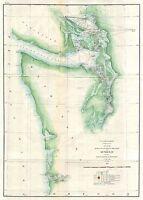1859 Coastal Survey Map Nautical Chart of the Puget Sound and Washington Coastal