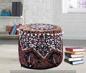 Indian Star Pouf Cover Ottoman Round Ottoman Cover Pouf Footstool Decor Seating