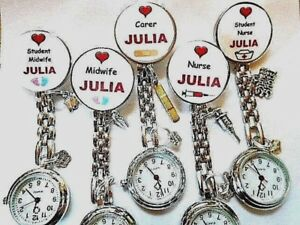Nurse Watch YOUR NAME ODP Plaster Syringe HCA Feet Midwife Charms Clip on Brooch