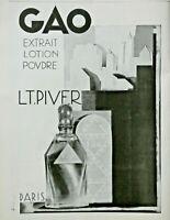 PUBLICITÉ DE PRESSE 1929 L.T. PIVER PARIS GAO EXTRAIT LOTION POUDRE