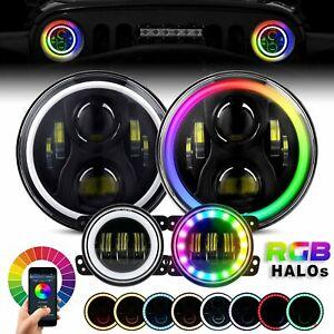 "For Jeep Wrangler JK 2007-2016 RGB Halo 7inch LED Headlights HI/LO 4"" Fog Lights"