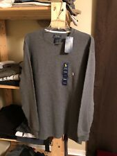 NWT Polo Ralph Lauren Men's Charcoal Gray Long Sleeve Waffle Shirt XL