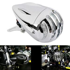 """4.5"""" Retro Bullet Headlight Mount Finned Grill Cover For Harley Bobber Chopper"""