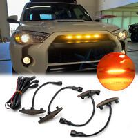 Smoked Lens Front Grille Amber LED Lights Assy Kit For Toyota 4Runner 2014-2019