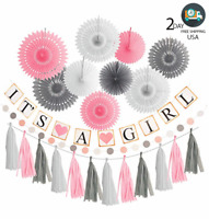 Pink White Grey Elephant Baby Girl Shower Decorations It's A Girl Party Decor